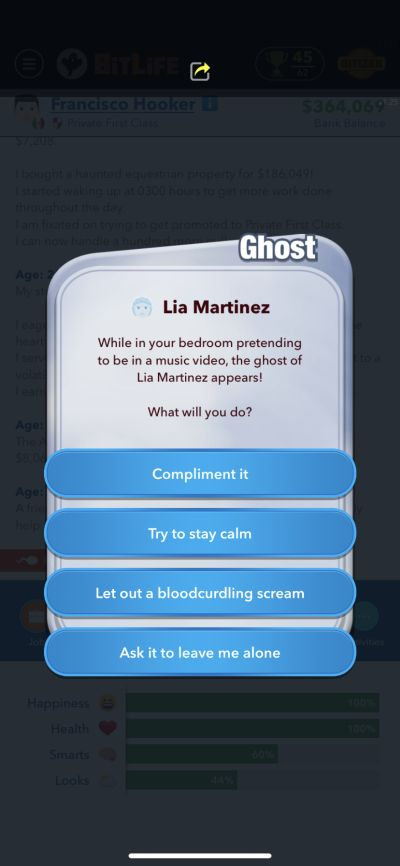 how to deal with a ghost in bitlife