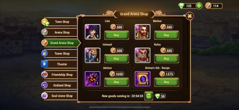 hero wars grand arena shop