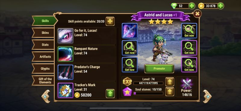 hero wars tower skill points
