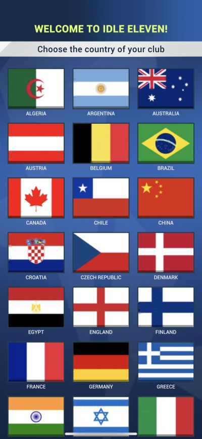 idle eleven country selection