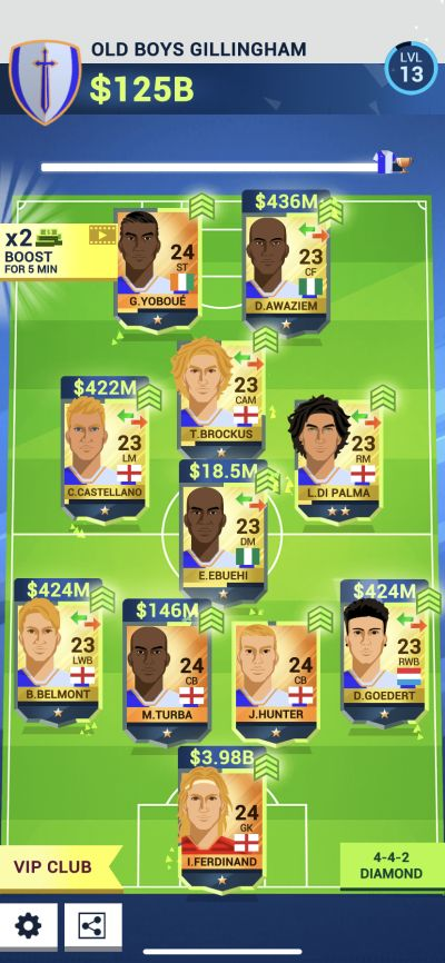 idle eleven team formation