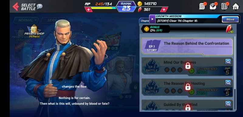 the king of fighters allstar growth mission