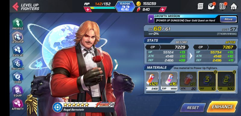how to level up fighter in the king of fighters allstar
