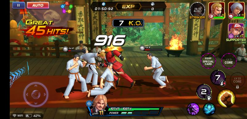 the king of fighters allstar power up dungeons