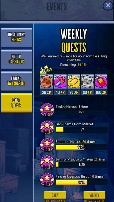 zombieland double tapper weekly quests