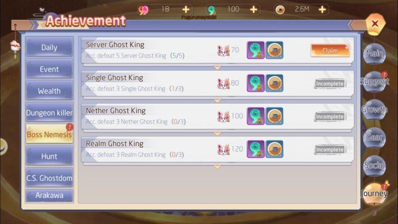 yokai tamer achievement rewards
