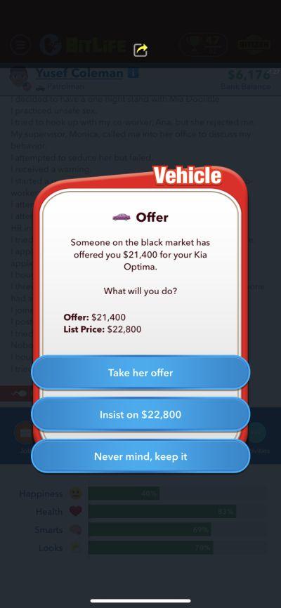 bitlife car sale