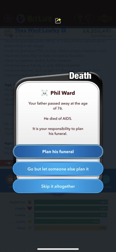how to plan funeral in bitlife