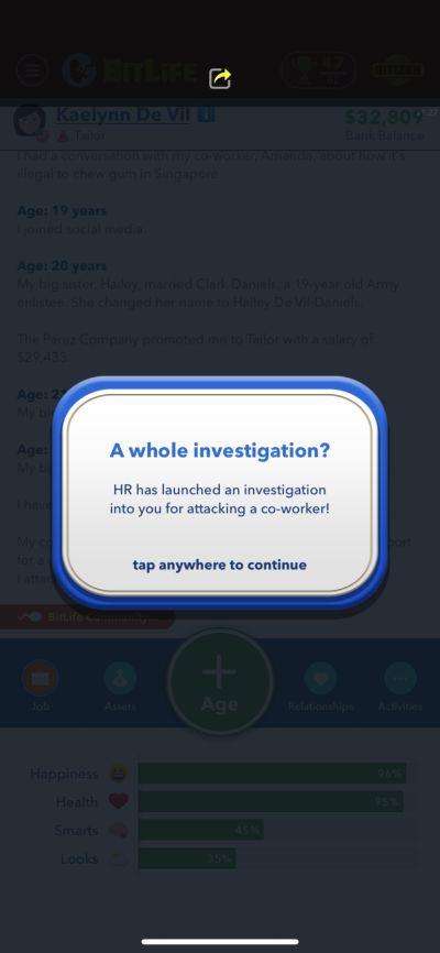 bitlife hr investigation