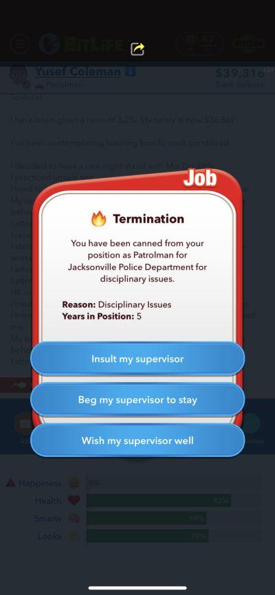 bitlife job termination