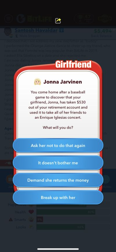 spouse stealing money in bitlife