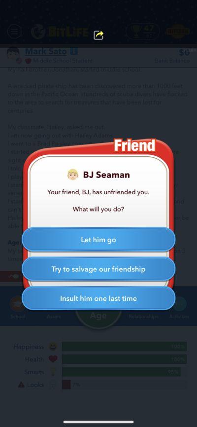 bitlife unfriending