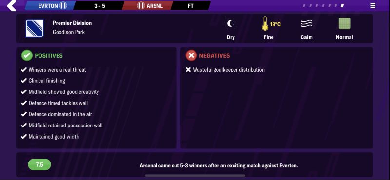 football manager 2020 mobile match report