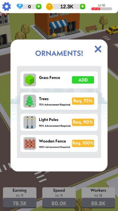 idle construction 3d ornaments