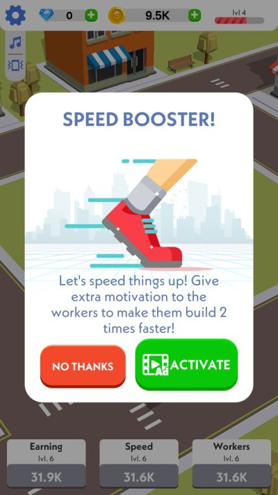 idle construction 3d speed booster