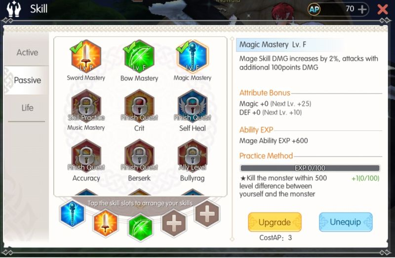 mabinogi fantasy life passive skills