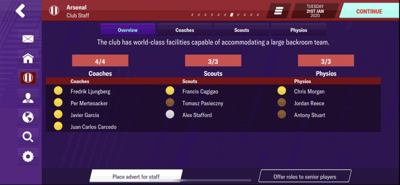 football manager 2020 mobile staff