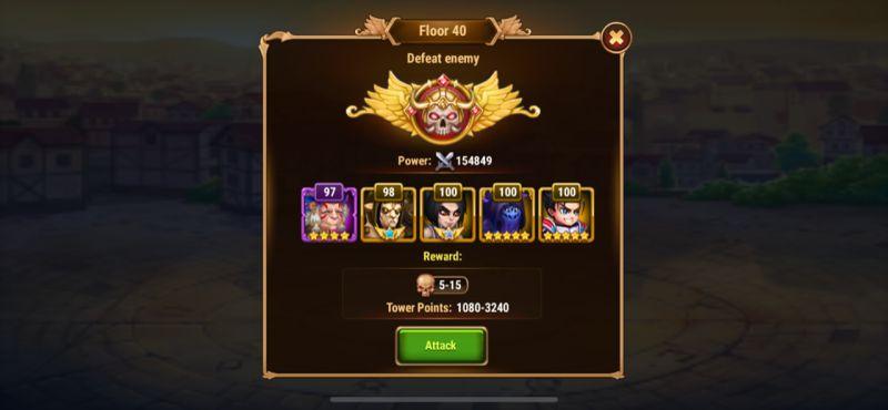 hero wars tower mode team
