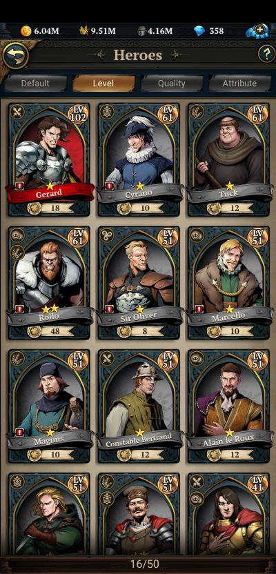 how to upgrade heroes in king's throne game of lust