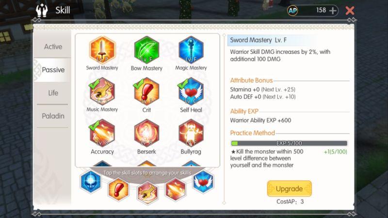 mabinogi fantasy life passive skills setup