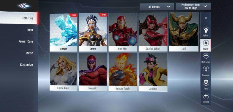 marvel super war power class