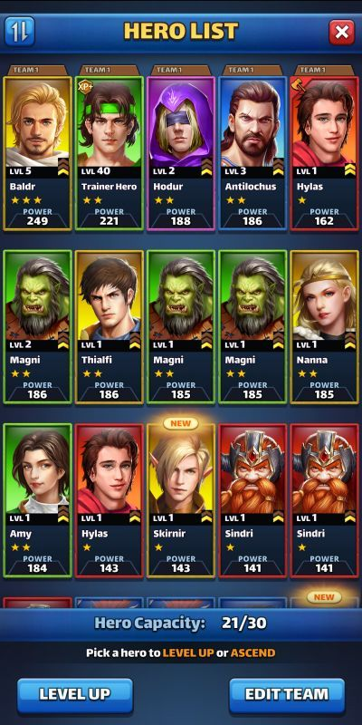 mythwars & puzzles hero list