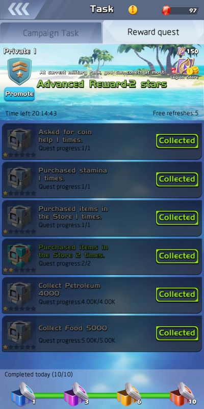 top war battle game campaign tasks