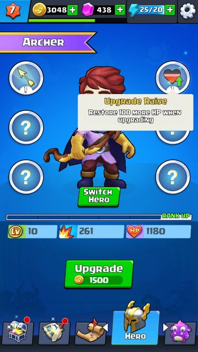 how to level up a hero in byebye monster