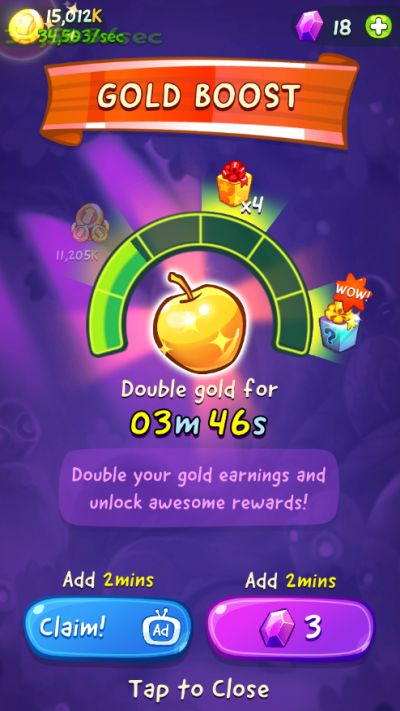 how to double your coins in om nom merge