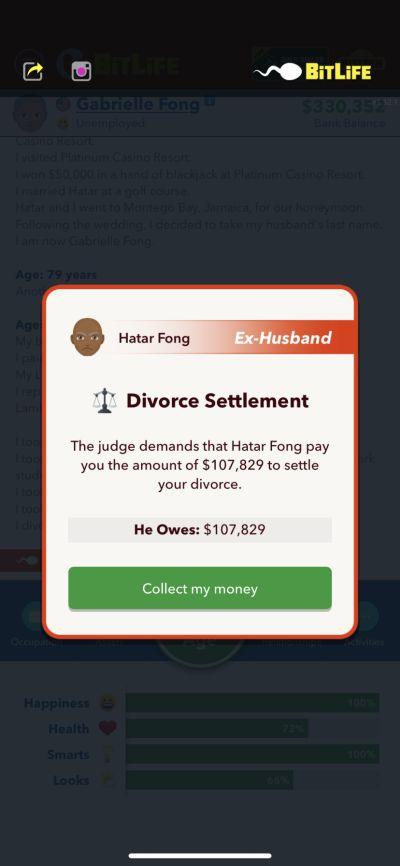 bitlife divorce settlement