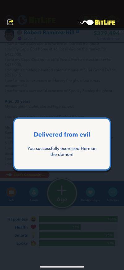 bitlife exorcism