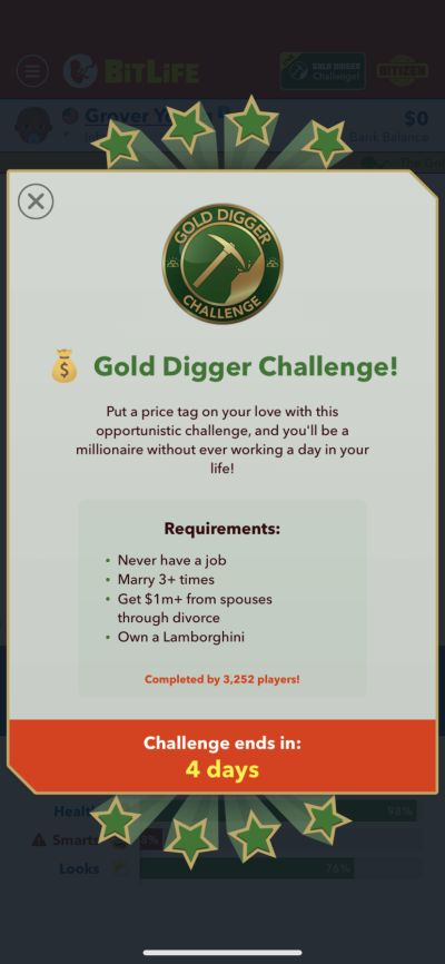 bitlife gold digger challenge requirements