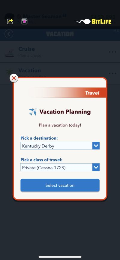 how to go on a vacation in bitlife