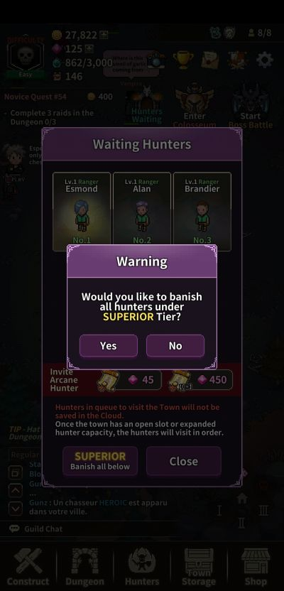 how to choose hunters in evil hunter tycoon