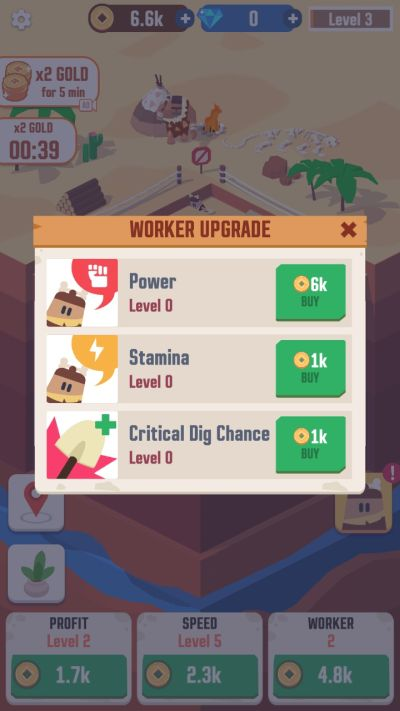 how to upgrade workers in idle digging tycoon