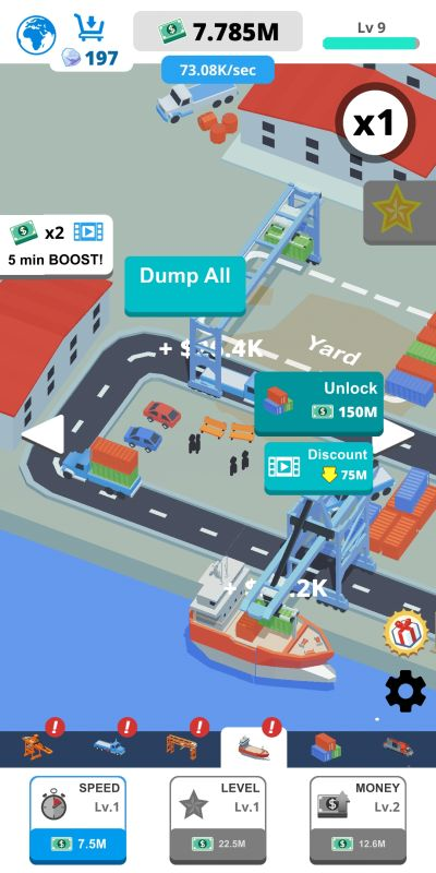 how to invest cash in idle port tycoon