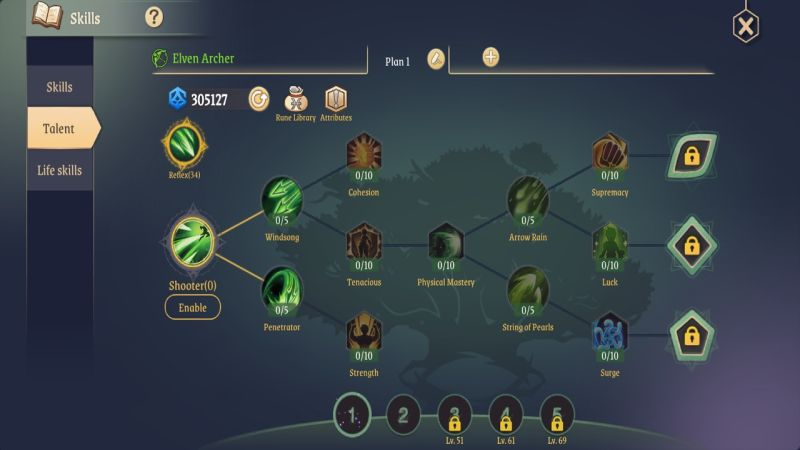 light of thel elven archer shooter talents