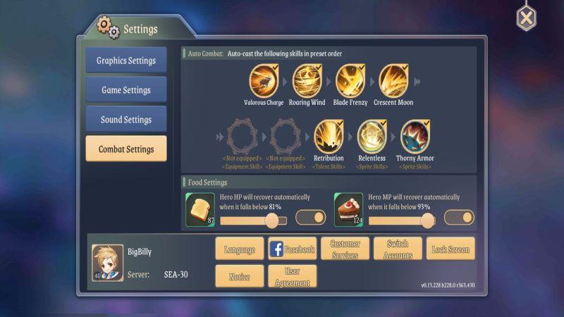 light of thel omni warrior combat settings