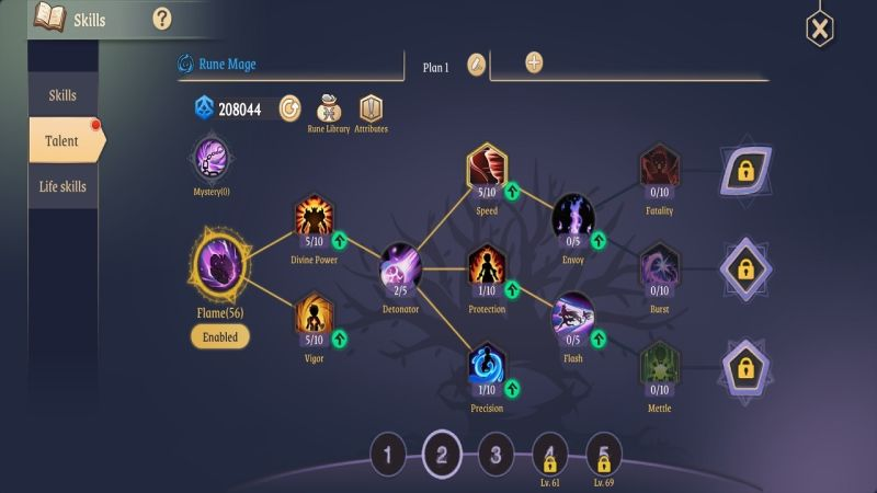 light of thel rune mage flame talents