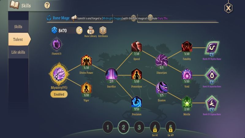 light of thel rune mage mystery talents