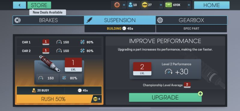 how to upgrade spare parts in motorsport manager online