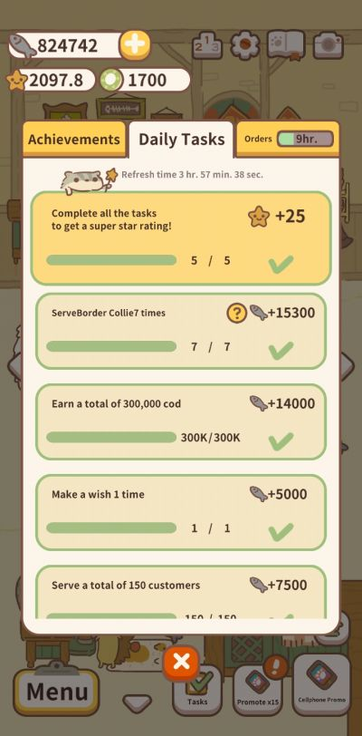 animal restaurant daily tasks and achievements