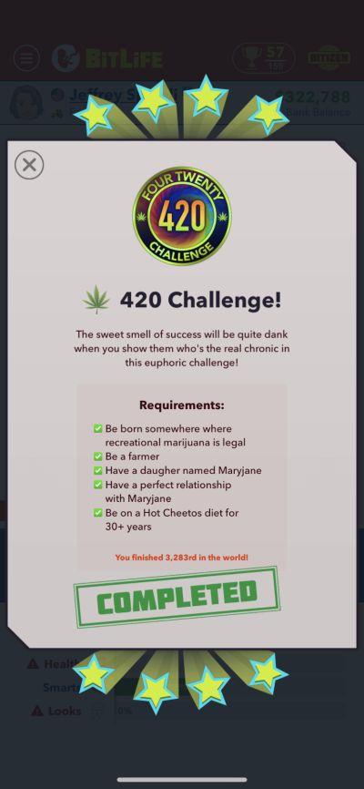 bitlife 420 challenge requirements