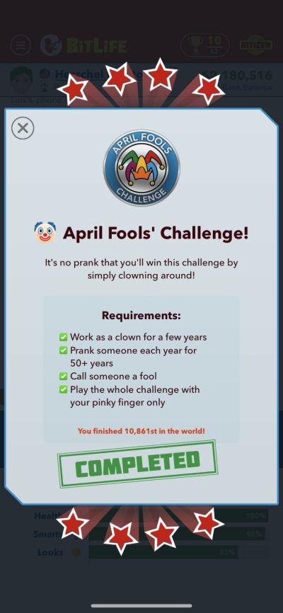 bitlife april fools challenge requirements