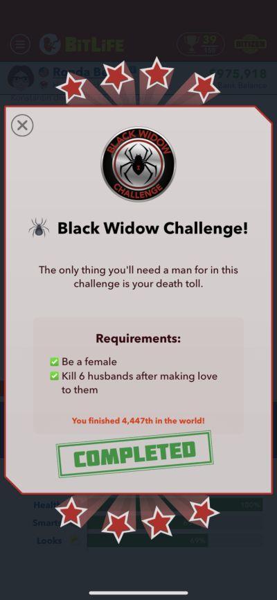bitlife black widow challenge requirements