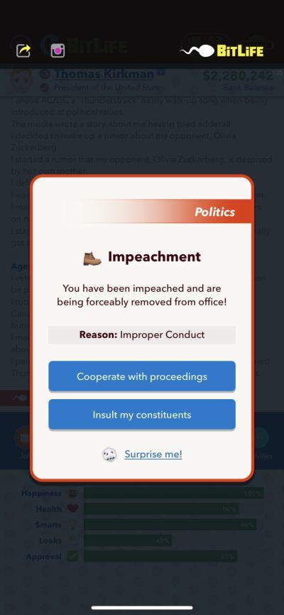bitlife impeachment
