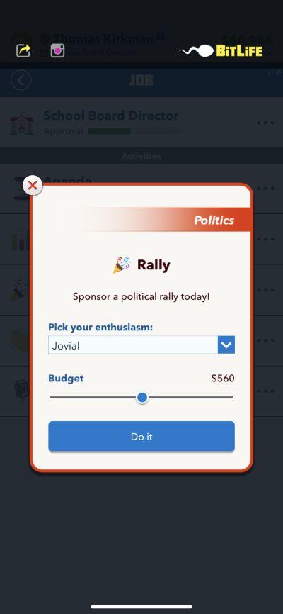bitlife politica rally