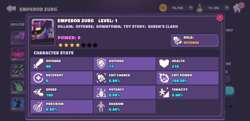 disney sorcerer's arena character stats