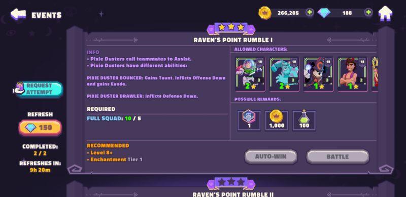 disney sorcerer's arena raven's point rumble