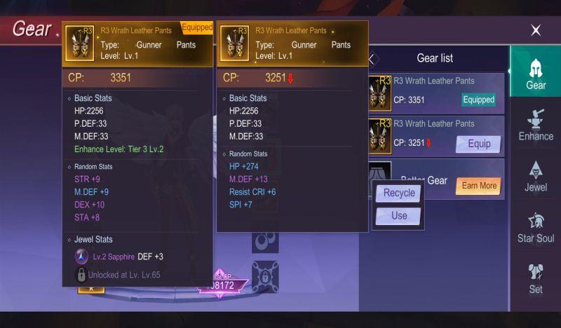 how to equip your gear in eternal sword m